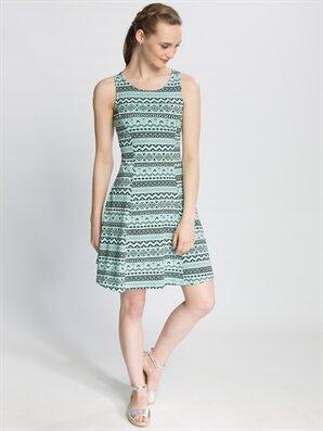 Green Above Knee Striped Sleeveless Dress -6YE149Z8-629